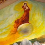 A striking mural of the Virgin Mary by French artist A. D'Acchille, in the Church of the Visitation (Seetheholyland.net)
