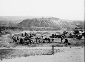 Beit She'an in about 1925, before the Roman-Byzantine city in front of the mound was excavated. (American Colony/Eric Matson collection)