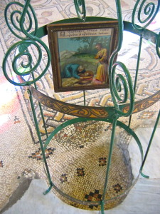 Hollow in floor where John the Baptist's head is believed to have been found (Matanya - Wikimedia)