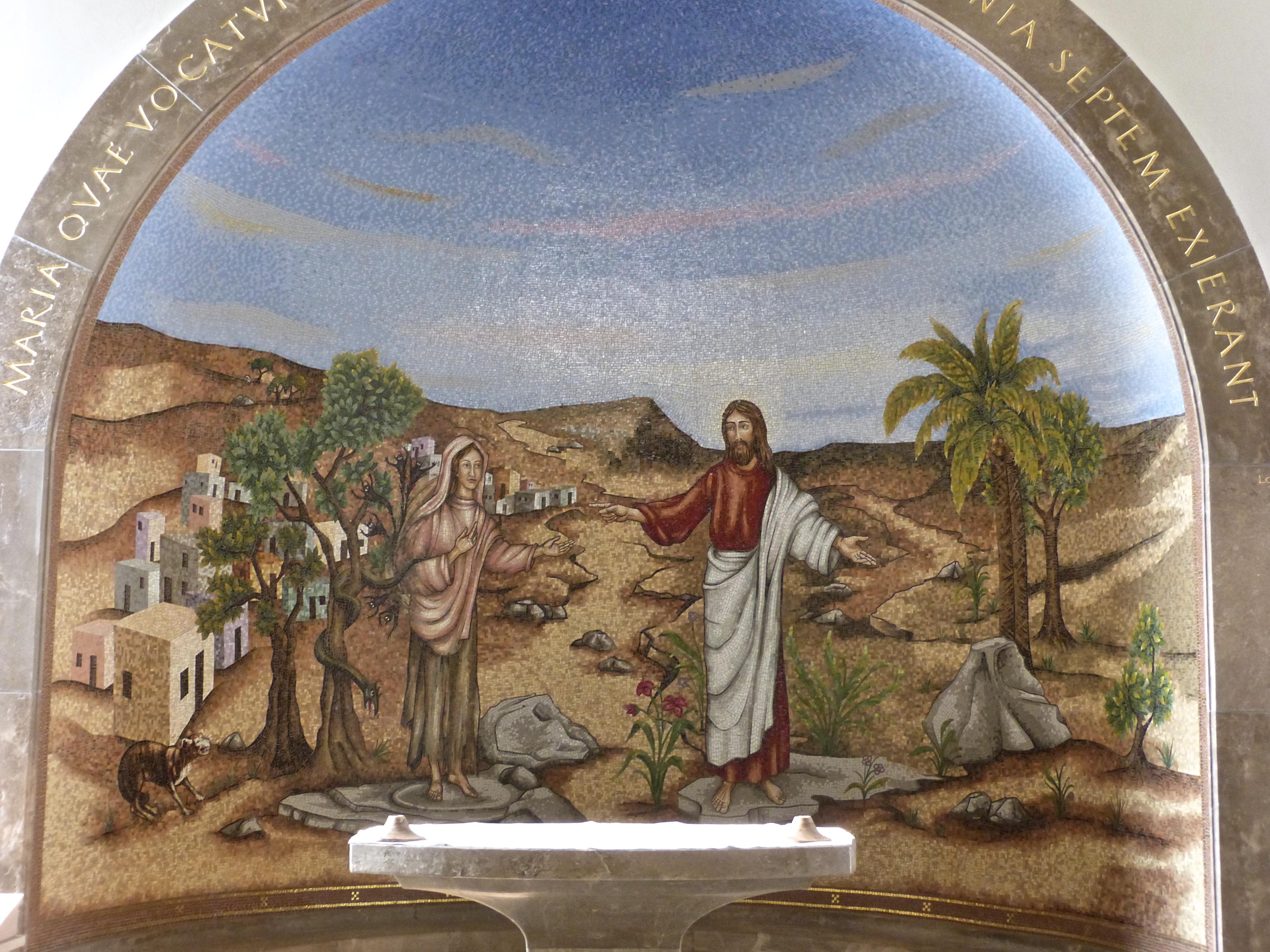 Jesus Casting Seven Demons From Mary Magdalane Mosaic In Magdala Church
