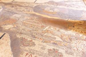 Madaba's mosaic map, with Jerusalem in the centre (Seetheholyland.net)