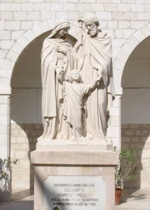 Modern statue of Holy Family in convent courtyard, reflecting the belief that this was where Jesus grew up (© Nazareth360.com)