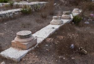 Row of column bases from Kathisma church (Seetheholyland.net)