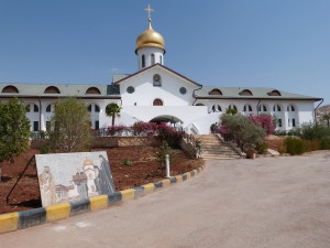 Russian Orthodox church at Bethany Beyond the Jordan, with mosaic depicting President Vladimir Putin at its opening in 2012 (Seetheholyland.net)