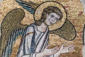 Rediscovered mosaic of an angel (© Piacenti Restoration Center)